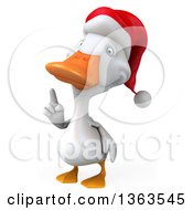 Clipart Of A 3d White Christmas Duck Wearing A Santa Hat And Holding Up A Finger On A White Background Royalty Free Illustration