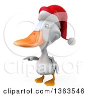 Clipart Of A 3d White Christmas Duck Pointing On A White Background Royalty Free Illustration