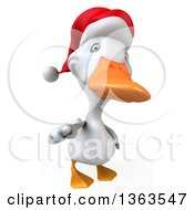 Clipart Of A 3d White Christmas Duck Pointing Outwards On A White Background Royalty Free Illustration
