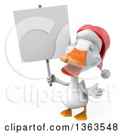 Clipart Of A 3d White Christmas Duck Holding A Blank Sign On A White Background Royalty Free Illustration