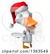 Clipart Of A 3d White Christmas Duck Holding A Plate Around A Sign On A White Background Royalty Free Illustration