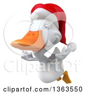 Clipart Of A 3d White Christmas Duck Flying On A White Background Royalty Free Illustration