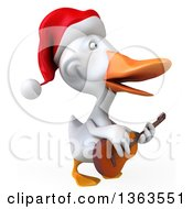 Clipart Of A 3d White Christmas Duck Playing A Guitar On A White Background Royalty Free Illustration