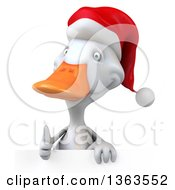 Clipart Of A 3d White Christmas Duck Giving A Thumb Up Over A Sign On A White Background Royalty Free Illustration