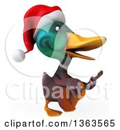 3d Christmas Mallard Drake Duck Singing And Playing A Guitar On A White Background