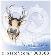Clipart Of A Cute Reindeer With Merry Christmas Text In The Snow Royalty Free Vector Illustration by Oligo