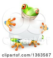 Clipart Of A Cute Colorful Tree Frog Holding A Blank White Sign Board Royalty Free Vector Illustration by Oligo