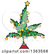 Poster, Art Print Of Cartoon Marijuana Pot Leaf Weed Christmas Tree Decorated With A Star Lights And Baubles
