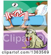 Cartoon Sad Dog Holding A Leash In His Mouth Wanting To Be Walked While His Master Sleeps