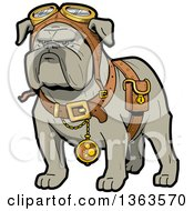 Clipart Of A Cartoon Steampunk Bulldog Explorer Wearing A Pouch Pocket Watch And Goggles Royalty Free Vector Illustration
