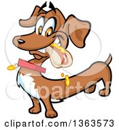 Clipart Of A Cartoon Happy Dachshund Eating A Hot Dog Royalty Free Vector Illustration