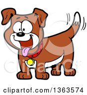 Clipart Of A Cartoon Happy Brown And White Dog Panting And Wagging His Tail Royalty Free Vector Illustration