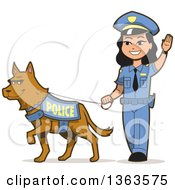 Clipart Of A Friendly Asian Police Woman Walking A K 9 Police Dog Royalty Free Vector Illustration