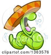 Clipart Of A Cartoon Drunk Tequila Worm Wearing A Mexican Sombrero Hat Royalty Free Vector Illustration