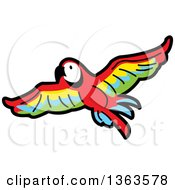 Clipart Of A Cartoon Flying Scarlet Macaw Parrot In Flight Royalty Free Vector Illustration