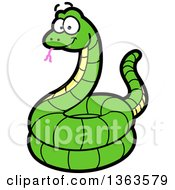 Clipart Of A Cartoon Happy Green Coiled Snake Royalty Free Vector Illustration