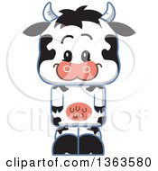 Clipart Of A Cartoon Happy Cute Cow Royalty Free Vector Illustration