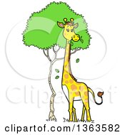 Clipart Of A Cartoon Giraffe Munching On Tree Leaves Royalty Free Vector Illustration