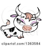Pretty Cartoon Dairy Cow With Flirty Eyes