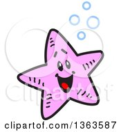 Clipart Of A Cartoon Happy Pink Starfish With Bubbles Royalty Free Vector Illustration