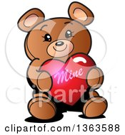 Cartoon Teddy Bear Holding A Mine Valentines Day Heart