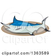 Clipart Of A Cartoon Mounted Trophy Marlin Swordfish On A Plaque Royalty Free Vector Illustration