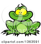 Clipart Of A Cartoon Happy Green Frog Sitting And Smiling Royalty Free Vector Illustration