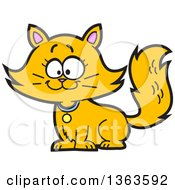 Clipart Of A Cartoon Happy Long Haired Ginger Cat Sitting Royalty Free Vector Illustration