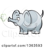 Clipart Of A Cartoon Happy Gray Elephant Using His Trunk To Make Trumpet Noise Royalty Free Vector Illustration