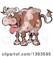 Clipart Of A Cartoon Brown Dairy Cow With Its Tongue Hanging Out Royalty Free Vector Illustration by Clip Art Mascots