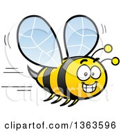 Clipart Of A Cartoon Happy Bee Grinning And Flying Royalty Free Vector Illustration