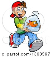 Clipart Of A Cartoon Happy Brunette Caucasian Boy Running With A Pet Goldfish In A Bag Royalty Free Vector Illustration