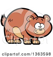 Clipart Of A Cartoon Happy Brown Grizzly Bear Smiling Royalty Free Vector Illustration