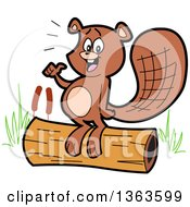 Clipart Of A Cartoon Happy Beaver Giving A Thumb Up And Standing On A Log Royalty Free Vector Illustration