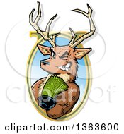 Clipart Of A Cartoon Male Stag Deer Holding Out Big Bucks And Emerging From An Oval Frame Royalty Free Vector Illustration by Clip Art Mascots
