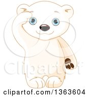 Clipart Of A Cute Baby Polar Bear Cub Saluting Royalty Free Vector Illustration by Pushkin