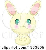 Clipart Of A Cute Yellow Manga Anime Bunny Rabbit Royalty Free Vector Illustration
