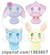 Clipart Of Cute Manga Anime Bunny Rabbits A Cat And Dog Royalty Free Vector Illustration