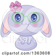 Clipart Of A Cute Purple Manga Anime Bunny Rabbit Wearing A Flower And Glasses Royalty Free Vector Illustration