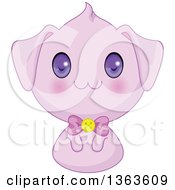 Clipart Of A Cute Purple Manga Anime Puppy Dog Royalty Free Vector Illustration