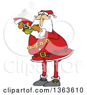 Clipart Of A Cartoon Christmas Santa Claus Smoking Pot With A Pipe Royalty Free Vector Illustration