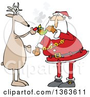 Clipart Of A Cartoon Christmas Reindeer Helping Santa Claus Light Up To Smoke Pot With A Pipe Royalty Free Vector Illustration