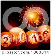 Clipart Of A 3d New Year 2016 Bingo Balls Over Flares And A Firework Royalty Free Vector Illustration by elaineitalia