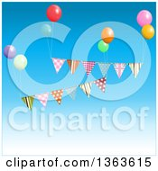 Clipart Of 3d Party Ballons And Bunting Banners Floating In The Sky Royalty Free Vector Illustration by elaineitalia