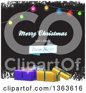 Clipart Of A Merry Christmas And A Happy New Year Greeting With Suspended Baubles 3d Gifts And Grunge Snow On Black Royalty Free Vector Illustration by elaineitalia