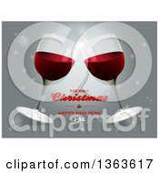Clipart Of A Merry Christmas And Happy New Year Greeting With Clinking Red Wine Glasses Royalty Free Vector Illustration by elaineitalia