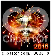 Clipart Of A 3d Sparkly Disco Ball With Fireworks And 2016 Royalty Free Vector Illustration by elaineitalia