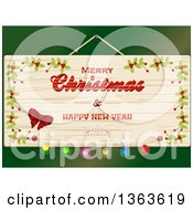 Clipart Of A Wooden Merry Christmas And Happy New Year Sign Over Green Royalty Free Vector Illustration by elaineitalia