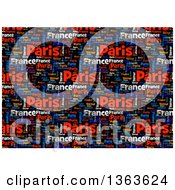 Clipart Of A Word Tag Cloud Collage Of The Words Paris France Terror On Black Background Royalty Free Illustration by oboy