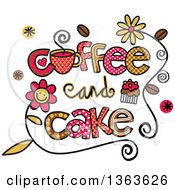 Clipart Of Colorful Sketched Coffee And Cake Word Art Royalty Free Vector Illustration